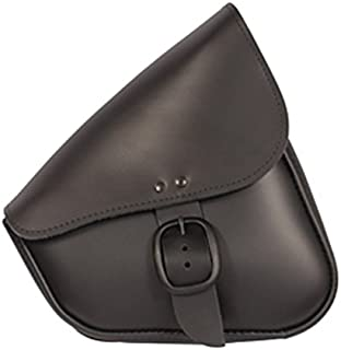 Dowco Willie & Max 59906-00 Matte Black Leather Buckle Swingarm Bag: Fits Dual Shock Bikes/Sportster/Yamaha Bolt, 9 Liter Capacity