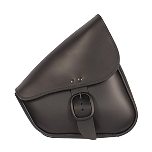 Dowco Willie & Max 59906-00 Matte Black Leather Buckle Swingarm Bag: Fits Dual Shock Bikes/Sportster/Yamaha Bolt, 9 Liter Capacity, Black with Matte Black Buckle