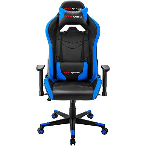 Mars Gaming MGC3, Silla Profesional, Regulable, Cojín Lumbar y Cervical, Negro