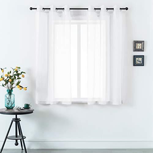 "DUALIFE 2 Piece Premium Sheer Voile Window Grommet Short Curtain Panels for Bathroom & Kitchen - 42"" W x 45"" L - White"