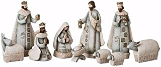 Roman Stamped Look 10 Piece Nativity Set Holy Family 3 Kings Manger Animals 7.5