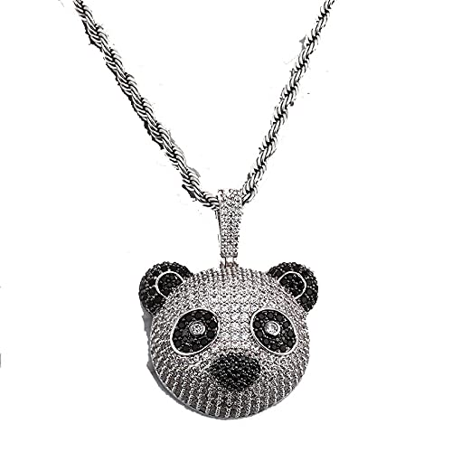 Minekkyes Ajuste de Garra de Hip Hop AAA + CZ Stone Bling Iced out Panda Colgantes Collares para Hombres Regalo de joyería 60cm