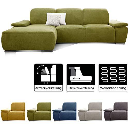 CAVADORE Ecksofa Tabagos / Eck-Sofa mit Longchair links / Modernes Sofa / Sitztiefenverstellung/ Armteilfunktion / 283 x 85 x 187 /Grün