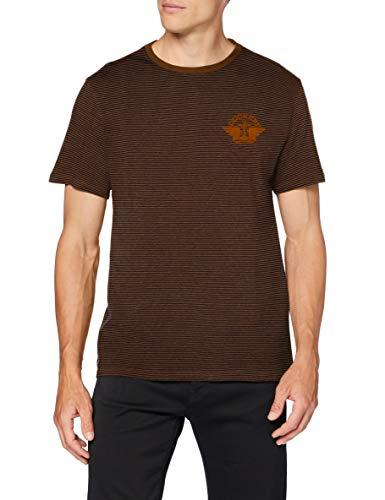 Dockers tee Camiseta, 1986 Logo Dark Ginger Ground End On End Stripe + Desert Honey Wing and Anchor Flock, 36 Unisex Adulto