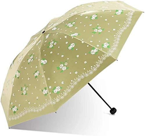 Chuihui Umberllas Folding Umbrella Sonnenschirm UV Cut Regen Prevention Leichte 7 Knochen Durable Origami Regenschirm Frauen (Farbe: Rosa, Größe: Free) Einfach zu Hause zu tragen