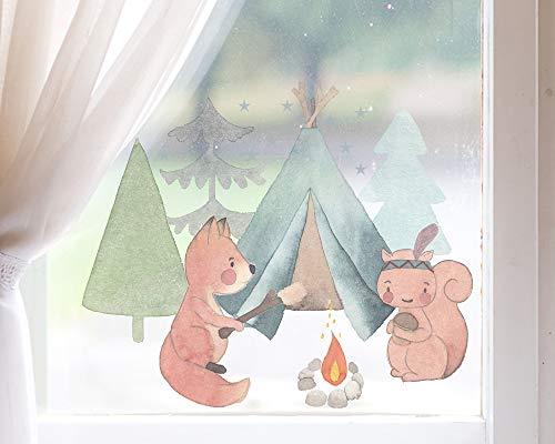 TinyFoxes Fensterbild Camping der Waldtiere - Herbstliche Kinderzimmerdeko zum Wiederverwenden
