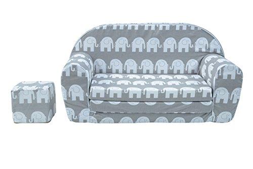 MuseHouse Schlafsofa für Kinder, Kindersofa, Kindermöbel, Komfort in Stil, Play Cube (Elephant)