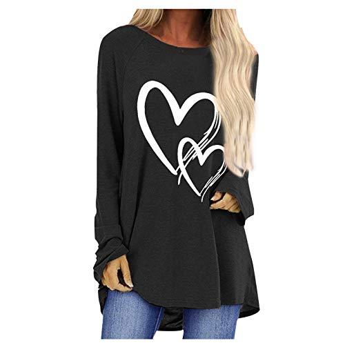 L9WEI Camisa de Manga Larga para el Día de San Valentín, Blusas para Mujer, Camisa Larga Informal, pulóveres con Estampado de corazón Suelto, Blusas, túnicas, Camisa, Sudadera para Mujer
