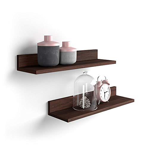 Mobili Fiver, Par de estantes, Modelo Rachele, de MDF, 60 cm, Color Roble Oscuro - Wenguè, Aglomerado y Melamina, Made in Italy