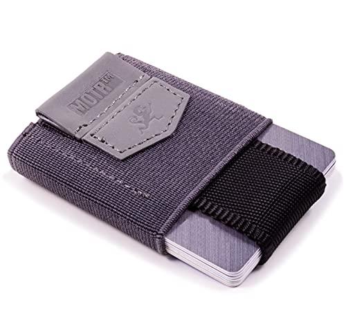 Premium Slim Wallet con cordón & Monedero – el elástico Tarjetero & Mini Monedero de tela – Tarjetas, billetes y monedas – Pequeño Monedero, 4 - gris. (Gris) - MOTR-FW-01Gray