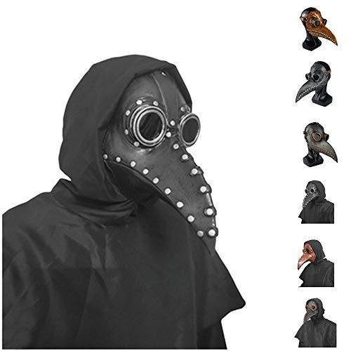 Mscara de Halloween Plaga Bird Doctor Disfraz Steampunk nariz larga mscara de pjaro Props (D, OneSize)