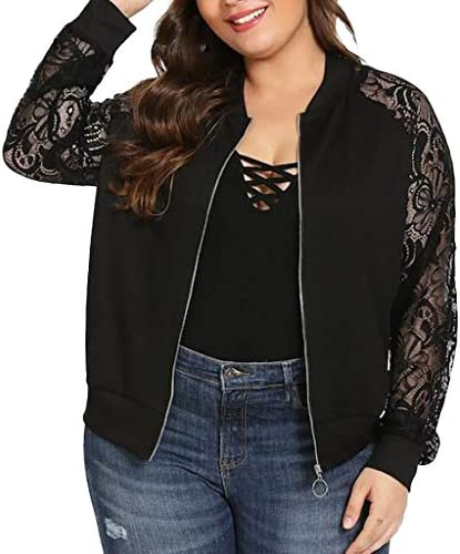 LISTHA Lace Long Sleeve Zip Up Jackets Women Short Bomber Coat Casual Outwear product image