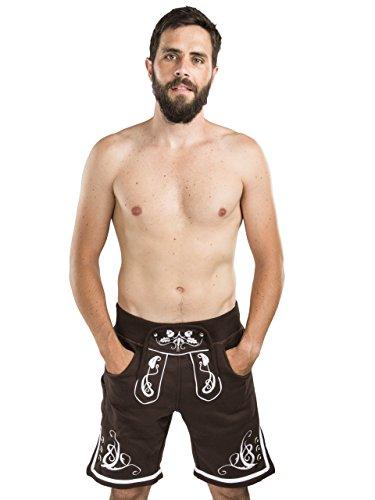 Heren jogging leren broek - joggingbroek geborduurd - klederdrachtbroek Oktoberfest - mooie lederhose
