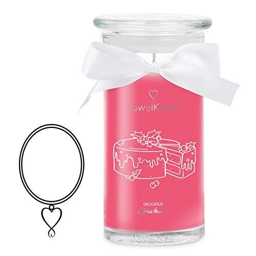 JuwelKerze Delicious Christmas - Kerze im Glas mit Schmuck - Große rosane Duftkerze mit Überraschung als Geschenk für Sie (Silber Armband, Brenndauer : 90-125 Stunden)