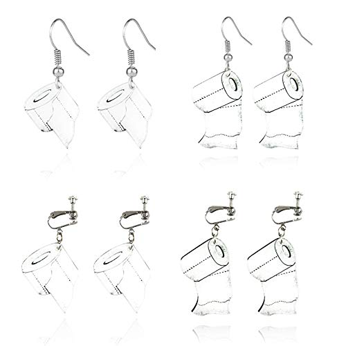 4 Pairs Roll Paper Drop Earrings, Creative Acryl Klem op Hoop oorbellen en Hook Ear Wire Grappige Gift for Her