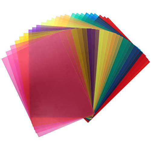 POKIENE Filtro de Gel de Color de 24 Piezas, Filtro de Gelatina de Plástico, Filtro Transparente de Corrección de 8 Colores para Luz de Flash, Película Fotográfica de Video Led -29,2 * 21,1 Cm