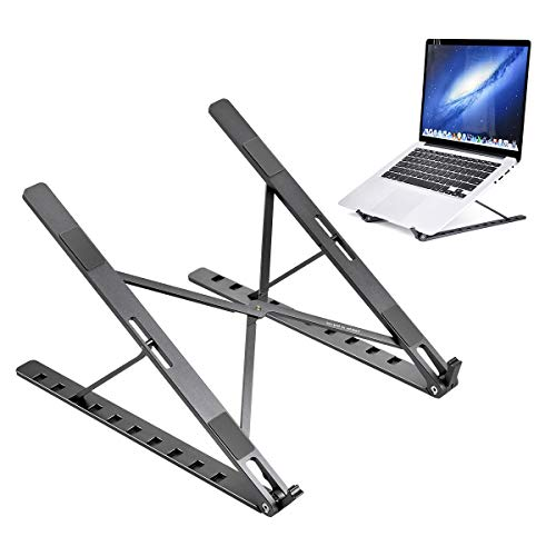 Funkprofi Laptop Ständer, Multi-Winkel Verstellbar, Höhe Einstellbar, Faltbar Rostfreier Stahl Tablet Halterung Stand Halter für 10-17 Zoll Notebook/iPad Air/Mini/MacBook (Silber)