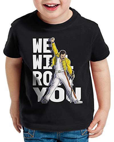 style3 Rock You T-Shirt für Kinder Freddie live Festival You, Farbe:Schwarz, Größe:104