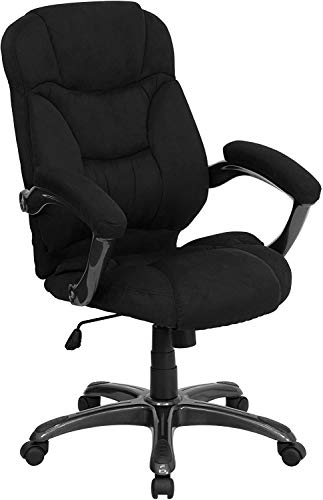 Flash Furniture High Back Black Microfiber Contemporary Executive Swivel Ergonomic Office Chair with Arms