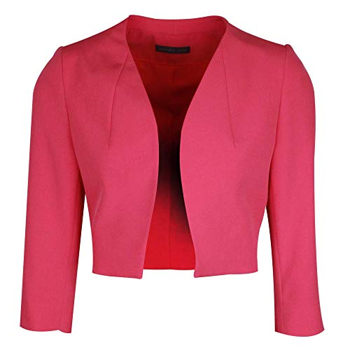 Michaela Louisa Fuchsia Pink Long Sleeve Jacket with Shoulder Pads 12 UK Fuchsia