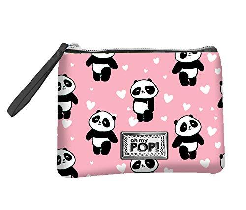 Oh My Pop! Panda-Monedero Cuadrado, Blanco