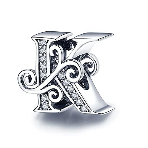 Pandora 925 plata esterlina DIY colgante joyería Codedog nombre letra alfabeto K encanto encanto fit único pulseras colgante joyería regalo c