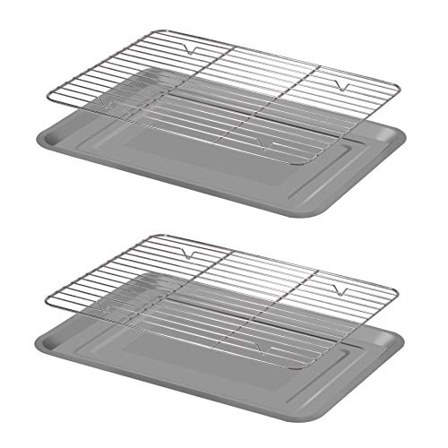 Baking Sheet with Rack, Stainless Steel Baking Pan Cookie Sheet with Cooling Rack (Set 2 Pans + Racks), Non Toxic & Healthy, Easy Clean & Dishwasher Safe (Large)