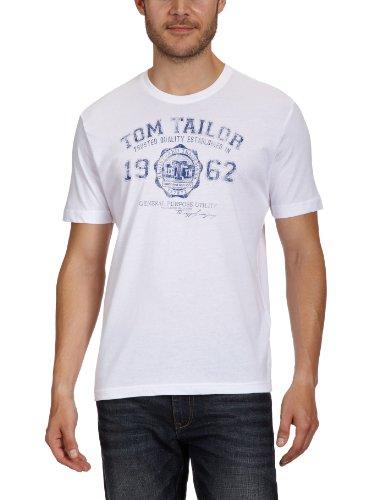TOM TAILOR Herren Logo T-Shirt, Weiß, S
