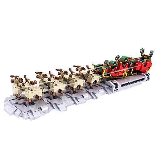 Oeasy Elektronik Weihnachten Schlitten Bausteine, 1318 Klemmbausteine Schlitten und Rentier Modellbau, Kompatibel mit Lego
