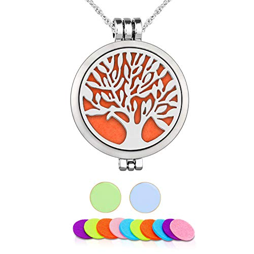 Aromatherapy Essential Oil Diffuser Pendant Necklace,WAWJ Life Tree Stainless Steel Christmas Mothers Day Gift Jewelry with 24' Chain & 12 Felt Pads