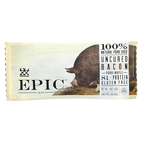 EPIC, Bar, Pork, Mple, Uncrd Bacon, Pack of 12, Size 1.5 OZ, (Low Carb Dairy Free Gluten Free Wheat Free Yeast Free)