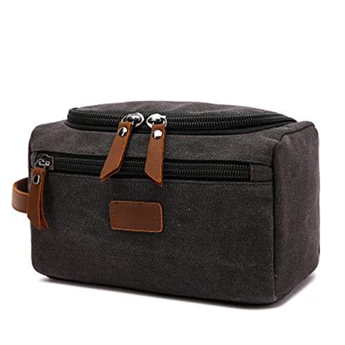 HZP Bolsa de aseo de lona para los hombres lavado de afeitado Dopp kit de las mujeres de viaje maquillaje bolsa de cosméticos bolsa organizador necesessaire negro