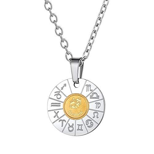 Suplight Sternzeichen Kette für Damen Mädchen Edelstahl Münzenkette mit Horoskop Symbol Zwillinge Runde Sternbilder Anhänger Halskette Accessorie für Weihnachten Gerburtstag