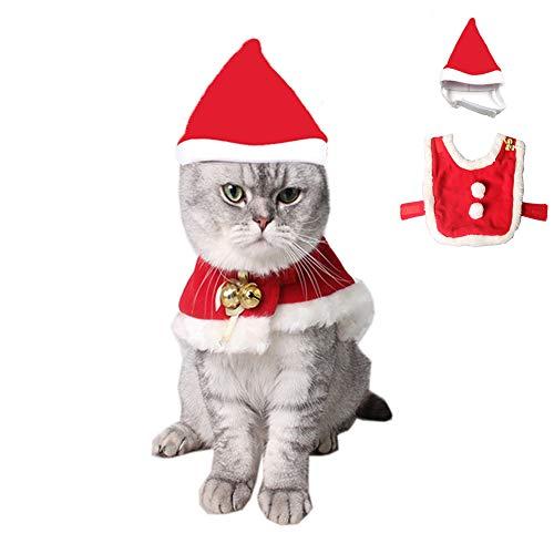 kungfu Mall Capa de Navidad para mascotas con campanas ajustables de Navidad para gatos y perros, 2 unidades