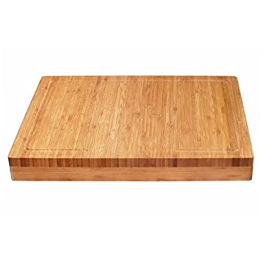Lipper International 8830 Bamboo Wood Over-the-Counter-Edge Kitchen Cutting and Serving Board, 17-5/8  x 13-7/8  x 2