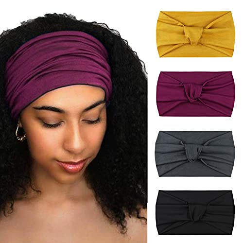 DRESHOW 4 Pack Turban Headbands for Women Wide Vintage Head Wraps Knotted Cute Hair Band Accessories