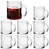 Glass Coffee Mug Set, (8 Pack) 12 Ounce with Convenient Handle, Tea Glasses for Hot/Cold Beverages, Thermal Shock Resistant, Tempered Glass, Mugs for Cappuccino, Latte, Espresso