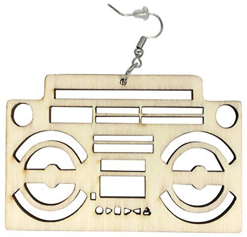 Radio Raheem - arete de pelo natural, arete de mujer afroamericana, joyería de madera africana Natural