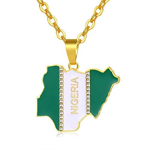 Nigeria Karte Flagge Kristall Anhänger Halsketten Für Frauen Männer Silber/Gold Farbe Nigerianischen Schmuck Patriotischen Geschenk Bijoux Femme