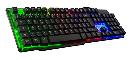 THE G-LAB - KEYZ NEON - Clavier Gaming Haute performance - Membrane Ultra Réactive - Rétroéclairage RAINBOW Multicolore - Layout Français