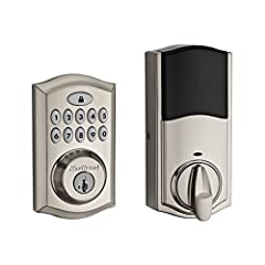 Key less entry touch pad with a motorized deadbolt and sleek interior; includes traditional key functionality for peace of mind 10 digit back lit audible keypad, one touch locking, 30 second auto lock option, and 16 customizable access codes for incr...