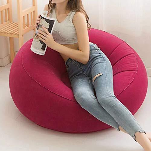 LIPETLI Soltero Flocado Sofá PVC Aire Libre Inflable Perezoso Estudiar Sofá Saludable Ocio Tapizado Sillón Tapizado Dormitorio Salón Butaca,Rojo