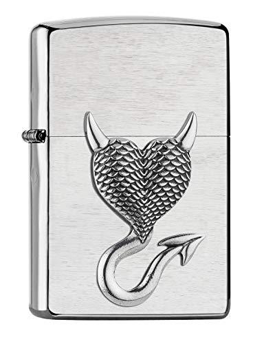 Imagen del productoZippo 2007136 - Mechero de Gasolina con Emblema de Diablo, Recargable, en Caja de Regalo, Color Plateado