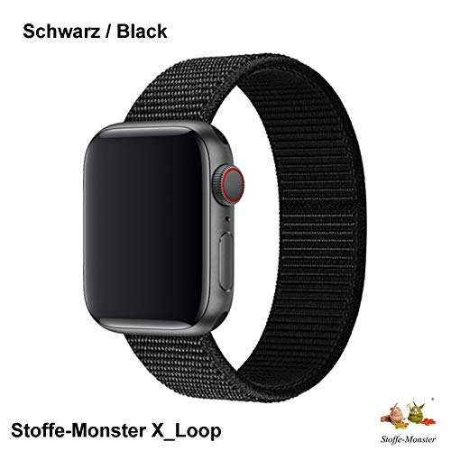 Stoffe-Monster X_Loop Watch Armband Sport schwarz Black 42mm / 44mm