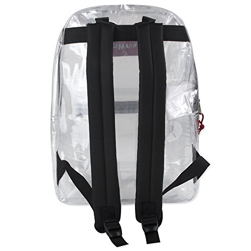 Clear Backpack With Reinforced Straps For School, Security, Sporting Events (Black)