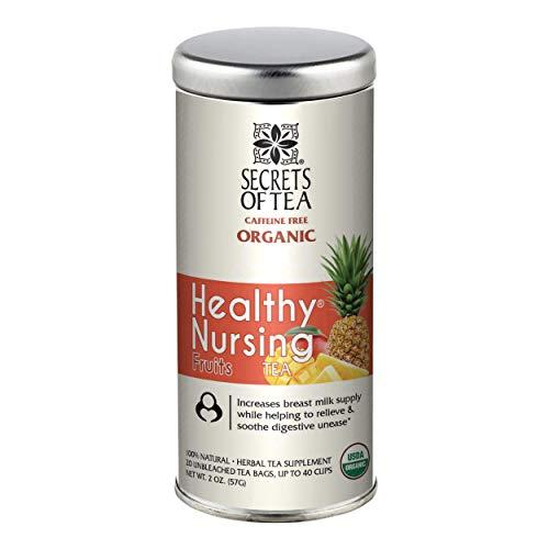 Secrets Of Tea Healthy Lactation Tea for Breastfeeding Moms, 20 Tea Bags, Natural USDA Organic Caffeine-Free Nursing Tea for Increased Breast Milk, Postnatal Lactating Tea for Women, Fruits Flavor