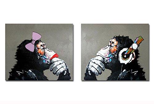 Fokenzary pintado a mano pintura lienzo Pop gorila pareja amante decoración de la pared enmarcado listo para colgar