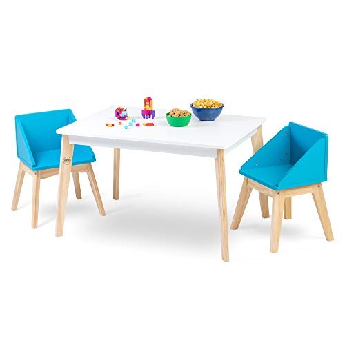 Wildkin Kids White Modern Table and Chair Set for Boys and Girls, Mid-Century Modern Activity Table Set Includes Two Matching Blue Chairs, Features Solid Natural Wood Legs and Stain-Resistant Top