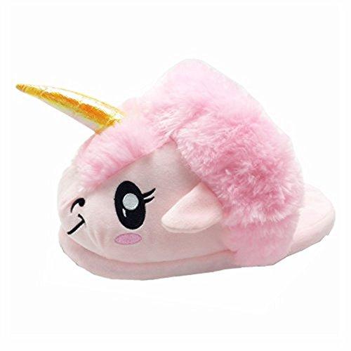 Rainbow Fox - Zapatillas de estar por casa para adulto - Diseño suave con forma de unicornio - Tallas EU 37-42, color Rosa, talla 37-42 yards.