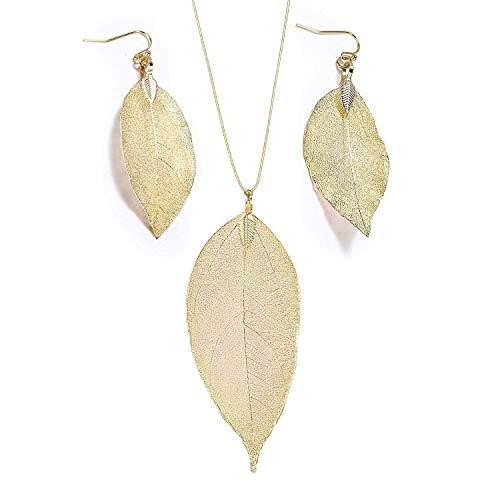 Pendientes de hoja collares para mujeres, niña Pendientes de gota de hoja y largo colgante collar Hojas de moda pendiente collar conjunto de oro